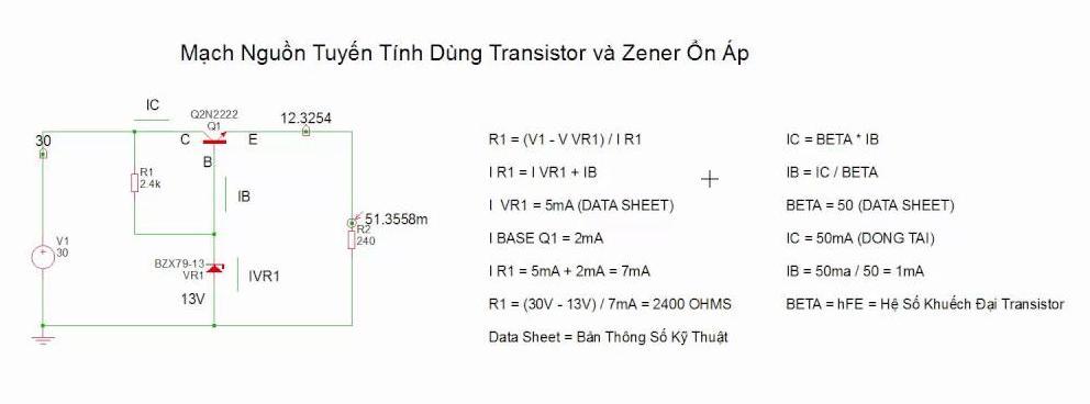 Mạch nguồn trong Ổn áp dùng transistor