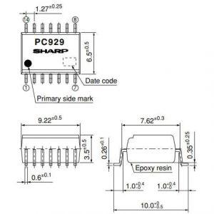 Kích thước datasheet PC929