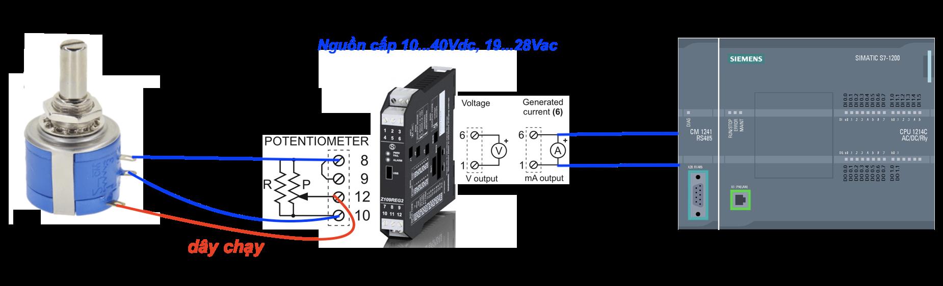 Biến trở được dùng để điều chỉnh tín hiệu 4-20mA hoặc 0-10V