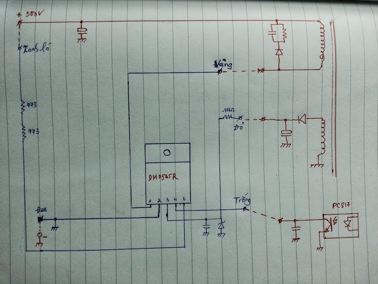Độ nguồn bằng bo mạch nguồn 5 dây
