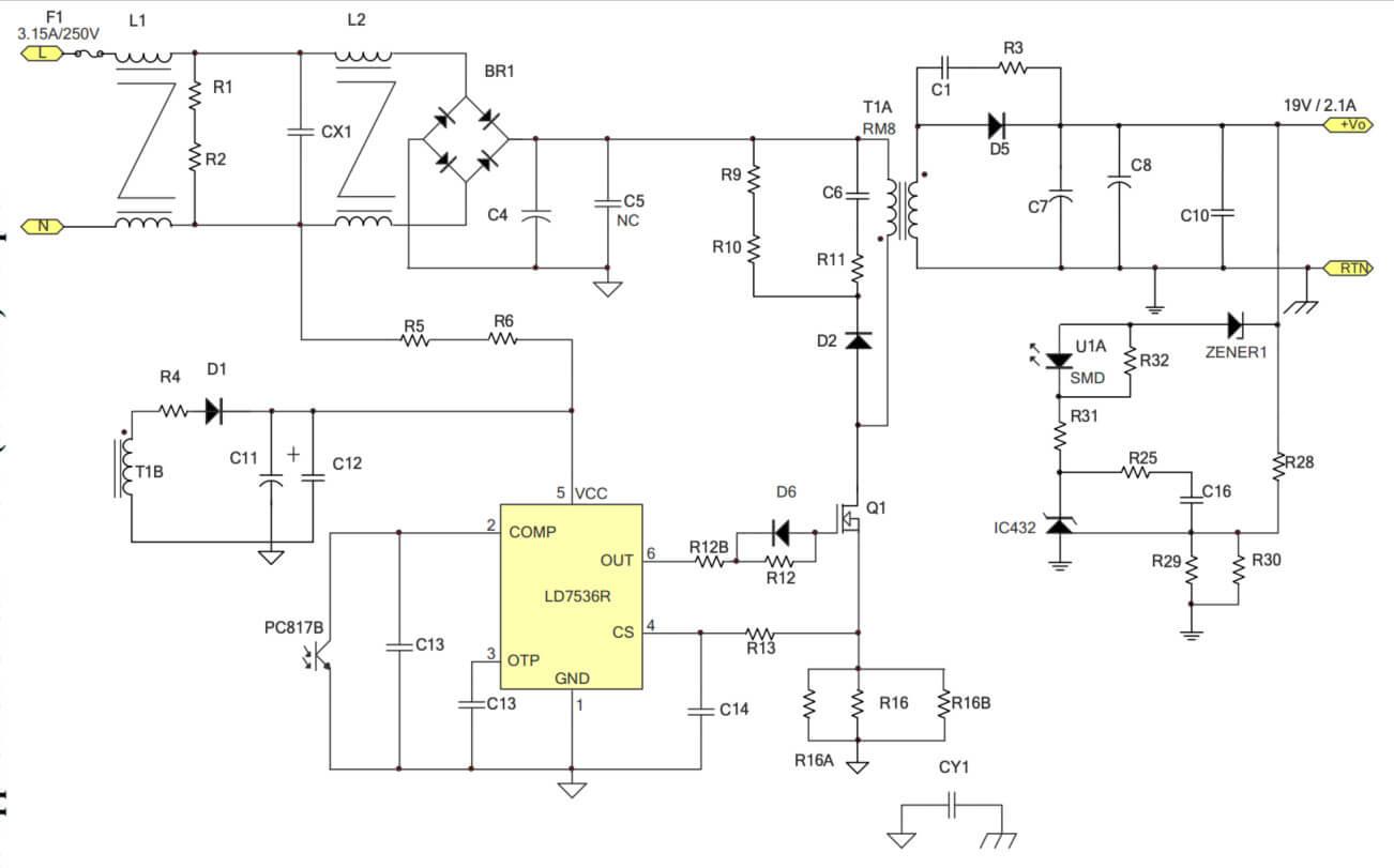 Mạch ứng dụng IC nguồn LD7536R